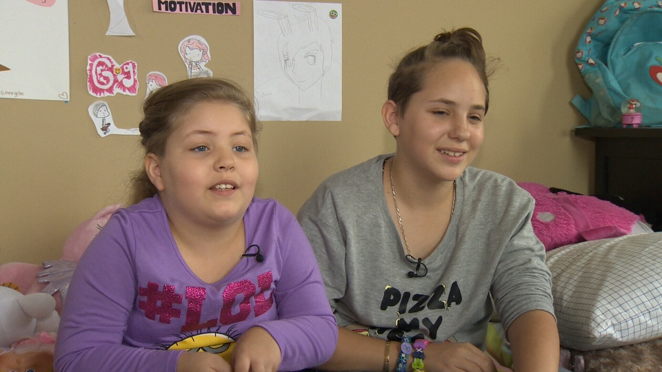 Georgia-Grace, 8, and Tabetha, 13, say they have much more energy and don't need to use oxygen tanks during the day since being introduced to cannabis oil treatments. Oct. 6, 2015. (CTV Vancouver Island)