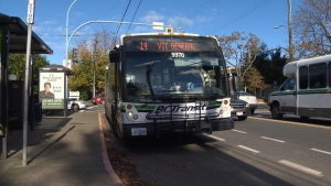 A BC Transit bus is shown in Victoria, B.C., in this Nov. 3, 2015 photo. (CTV Vancouver Island)