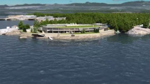 An artist's rendering is shown of a proposed sewage treatment plant for Esquimalt's McLoughlin Point that was shot down by the city in 2015.