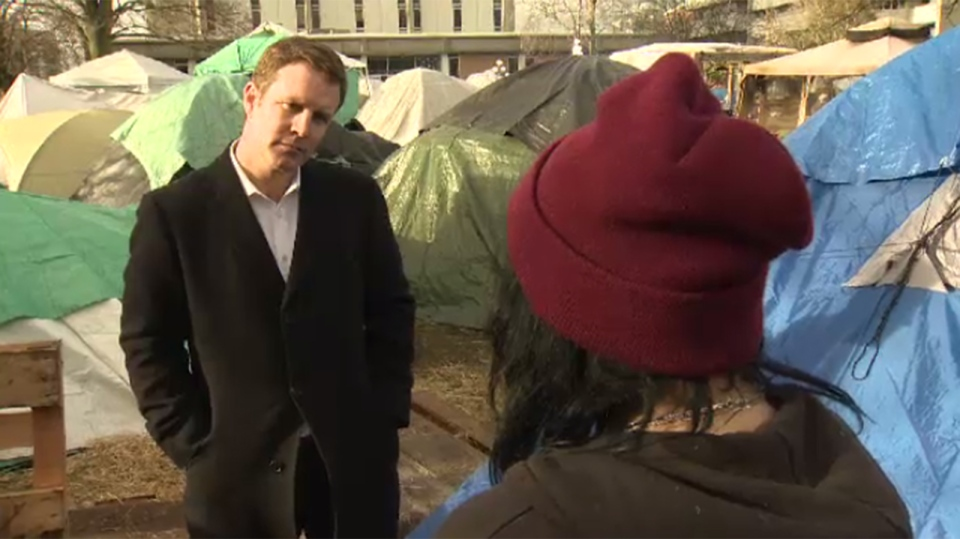 A 16-year-old girl who has bounced from foster homes to group homes says she finally feels a sense of belonging in a homeless camp on the lawn of Victoria's courthouse. Thurs., Jan. 14, 2016. (CTV Vancouver Island)