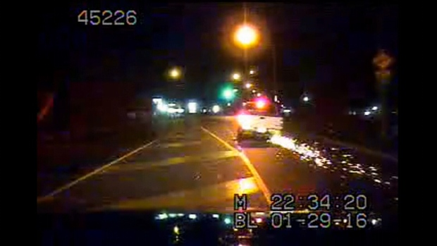 Sparks fly as a suspected impaired driver in a vehicle missing a tire is caught on a Nanaimo RCMP officer's dashboard camera, Fri. Jan. 29, 2016. (Nanaimo RCMP Handout)