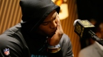 Carolina Panthers' Cam Newton answers questions after the NFL Super Bowl 50 football game on Feb. 7, 2016. (Marcio Jose Sanchez / AP)