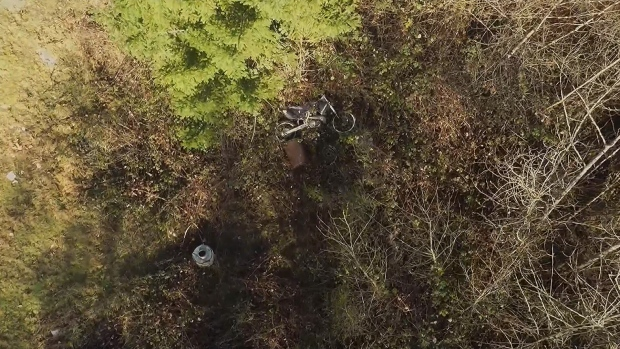 Ryan Sandness spotted his stolen Honda dirtbike by using an aerial drone that he flew over his neighbourhood. Feb. 10, 2016. (Courtesy Ryan Sandness)