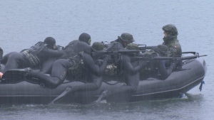 Military teams from around world converge on Comox Lake. Feb. 10, 2016. (Gord Kurbis/CTV Vancouver Island)