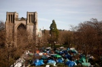 A view of the Christ Cathedral Church overlooking tent city before the block party at the camp in Victoria, B.C., on February 25, 2016. (Chad Hipolito / The Canadian Press)