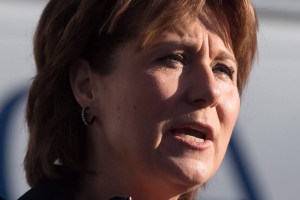 B.C. Premier Christy Clark speaks during an announcement about the protection of pets, at the B.C. SPCA in Vancouver, B.C., on February 22, 2016. (Darryl Dyck / The Canadian Press)