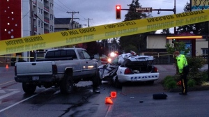 West Shore RCMP are investigating after a crash between a police cruiser and a pickup truck. (CTV)