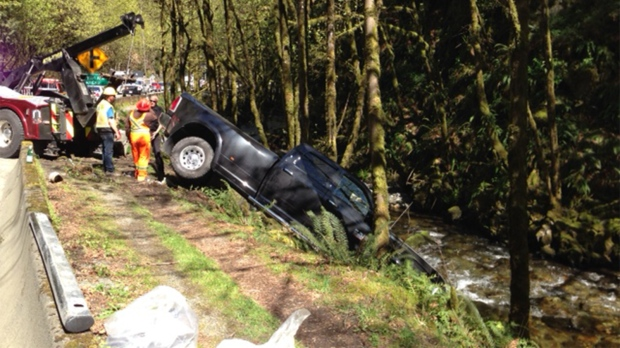 A truck went into the Goldstream River