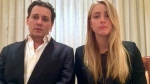 Johnny Depp and Amber Heard speak in a videotaped apology released by the Australian Government Department of Agriculture and Water Resources. (Australian Government via AP Video)