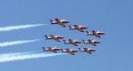 A formation of Canadian military jets streaked over Washington on Tuesday, May 24, 2016. (Joy Malbon / CTV NEWS)