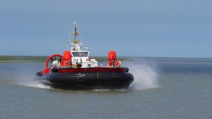 The Canadian Coast Guard gives a glimpse of CCGH Moytel, one of only three hovercrafts used for search and rescue missions in the country. The fleet is stationed at the Sea Island base in Richmond, B.C. and fielded 335 calls for service last year. The vessels can haul up to 70,000 kilograms and travel at a top speed of 60 knots. May 25, 2016. (Scott Cunningham/CTV Vancouver Island)