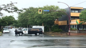 Kings Rd. from Quadra St. to Fifth St. has been shut down. May 28, 2016 (CTV Vancouver Island)