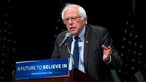 Democratic presidential candidate Sen. Bernie Sanders addresses supporters in New York Thursday, June 23, 2016. (AP Photo / Craig Ruttle)