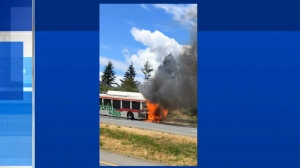 A photo sent into the CTV newsroom confirms the fire happened just past Thetis Lake towards Langford. (photo: Jason Pallan)