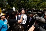 Jean-Yves Duclos, Minister of Families, Children and Social Development, meets with housing and homeless advocates, activists, and residents from tent city and other supporters at the Hotel Grand Pacific during a protest in Victoria, B.C., Tuesday, June 28, 2016. (THE CANADIAN PRESS/Chad Hipolito)