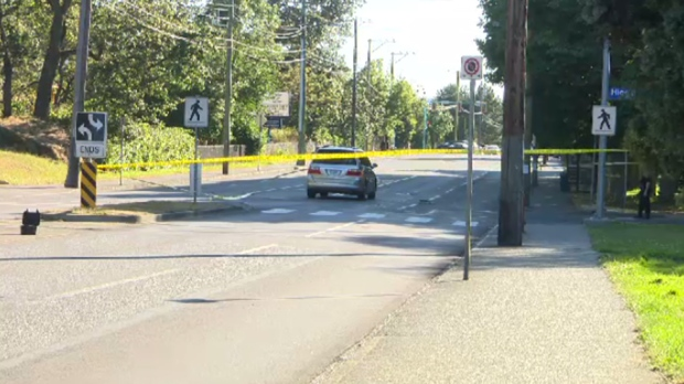 A pedestrian struck by a car at Hillside Avenue and Higgins Street in Victoria Monday has died in hospital, police say. June 29, 2016. (CTV Vancouver Island)