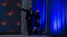 Former prime minister Stephen Harper and his wife Laureen leave the stage after addressing the Conservative Party of Canada convention in Vancouver, Thursday, May 26, 2016. (THE CANADIAN PRESS/Jonathan Hayward)