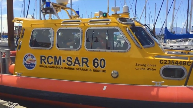 Search and rescue volunteers in Comox were called to rescue two men from a sinking boat Monday, July 25, 2016. (CTV Vancouver Island)