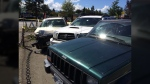 Damaged vehicles are shown after an out-of-control vehicle struck and killed a pedestrian in Courtenay, B.C., Tues. July 26, 2016. (CTV Vancouver Island)