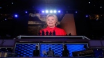 Democratic Presidential candidate Hillary Clinton appears on the screen during the second day session of the Democratic National Convention in Philadelphia, Tuesday, July 26, 2016. (AP / Carolyn Kaster)