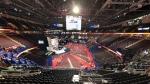 The Democratic National Convention floor at the Wells Fargo Center in Philadelphia on Wednesday, July 27, 2016 (Washington News Bureau Producer Will Dugan)