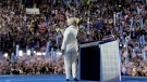Democratic presidential candidate Hillary Clinton waves to the crowd as she takes the stage to speak during the fourth day session of the Democratic National Convention in Philadelphia on Thursday, July 28, 2016. (AP / Andrew Harnik)