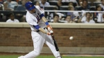 New York Mets' Wilmer Flores hits a grand slam during the fifth inning of a baseball game against the Philadelphia Phillies in New York on Friday, Aug. 26, 2016. (AP / Frank Franklin II)