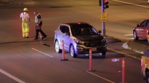 Central Saanich police say the pedestrian was trying to cross the highway when she was struck by a southbound Hyundai Sonata. August 27, 2016 (CTV Vancouver Island)