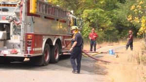 According to the Saanich Fire Department, about 16 firefighters are on scene and the blaze has been contained. August 27, 2016 (CTV Vancouver Island)