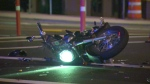 A motorcyclist was injured in a collision with another vehicle on Leigh Road in Langford, Monday, Aug. 29, 2016. (CTV Vancouver Island)