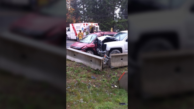 A serious collision shut down traffic in both directions on the Malahat Highway Thurs., Oct. 27, 2016. (Courtesy Malahat Mountain Meadows RV Park)
