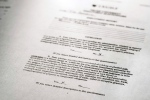 A copy of Tim Gorsline's employment questionnaire for Trump University, photographed Thursday Oct. 27, 2016, showing where he checked yes to pleading no contest to a felony charge. (AP Photo)