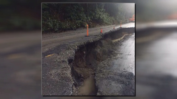 The portion of the highway near Kennedy Lake, about five kilometres east of Ucluelet Junction, was shut down on Friday. (Photo: Ryan Barker)
