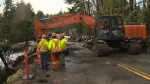 Cowichan Lake Road was closed after a sinkhole formed on Wednesday. Jan. 19, 2017 (CTV Vancouver Island)